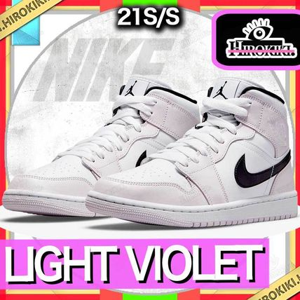 NIKE WMNS AIR JORDAN 1 MID LIGHT VIOLET/WHITE/BLACK AJ1