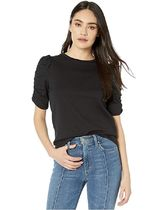 【kate spade new york】Ruched Sleeve Tee/ブラック/コットン
