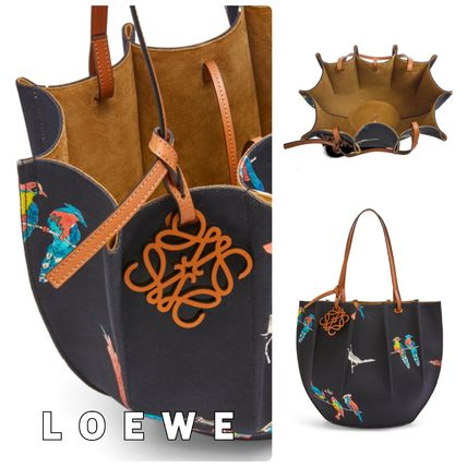 【LOEWE】Shell Tote☆プリントキャンバス&レザートートバッグ