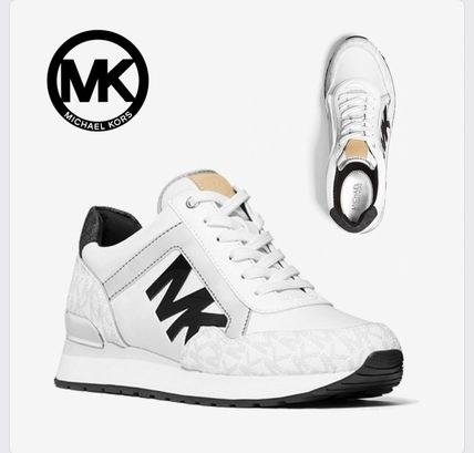 【MICHAEL KORS】 Maddy Two-Tone Logo Trainer