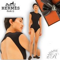HERMES【Body Col Rond】ボディスーツ☆黒☆