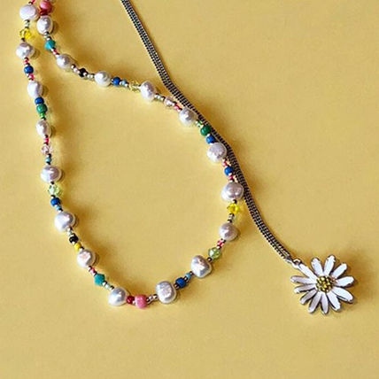 VINTAGE HOLLYWOOD ネックレス・ペンダント 【VINTAGE HOLLYWOOD】Pearl n Beads+Daisy Necklace〜2連セット(9)