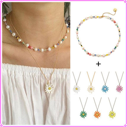 VINTAGE HOLLYWOOD ネックレス・ペンダント 【VINTAGE HOLLYWOOD】Pearl n Beads+Daisy Necklace〜2連セット