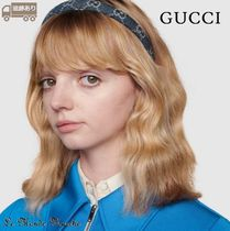 【GUCCI】Eco washed denim hair band GGデニム★ヘアバンド