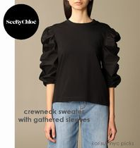 Cute*See by Chloe* crewneck sweater with gathered sleeves