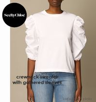 Cute*See by Chloe*crewneck sweater with gathered sleeves W