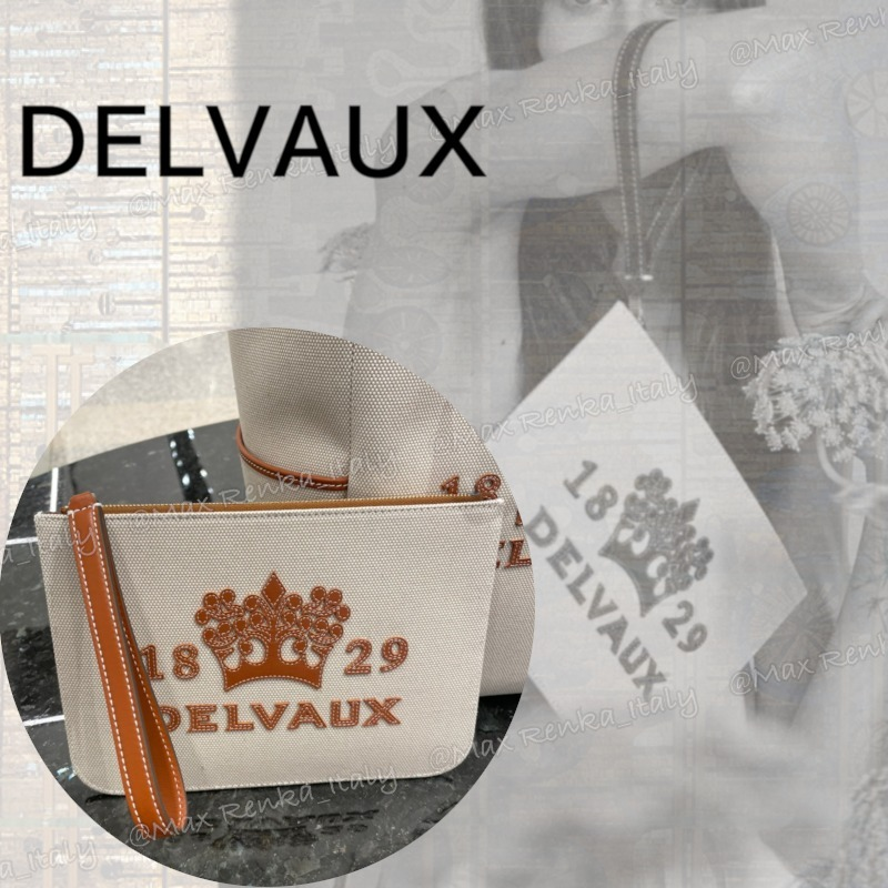 【DELVAUX】Delight Pouch レザーロゴ付キャンバスポーチ (DELVAUX/バッグ・カバンその他) 68091063