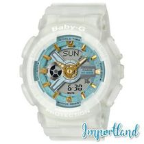 Analog-Digital Frosted White Resin Strap Watch 43.4mm