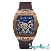 Multi-Function Rose Gold-Tone Brown Leather Silicone Strap W