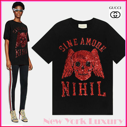 GUCCI★素敵!Sine Amore SEQUIN WINGED SKULL T-SHIRT