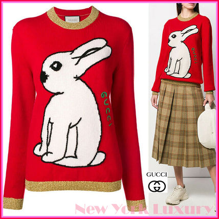 GUCCI★素敵!Red Wool Knit WHITE RABBIT Embroidered SWEATER
