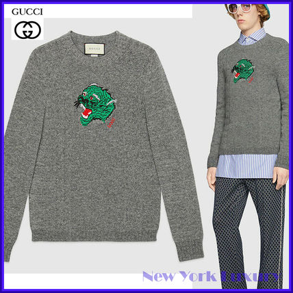 Gucci★素敵!Gray Wool/Cashmere Knit Tiger Head Sweater