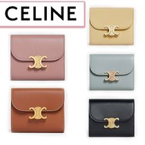 CELINE(セリーヌ) 折りたたみ財布 CELINE☆SMALL TRIOMPHE WALLET IN SHINY SMOOTH LAMBSKIN☆送込