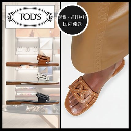 TOD'S トッズ 05 チェーン レザー フラットサンダル ミュール