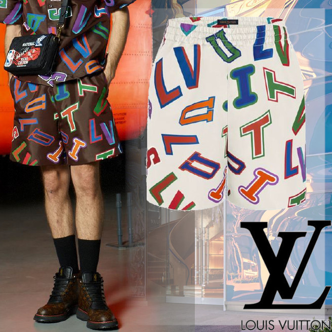 NBA限定コラボ☆【LouisVuitton】NBA BASKETBALL LETTERS SHORTS (Louis Vuitton/ハーフ・ショートパンツ) HLP26WES9001  HLP26WES9810