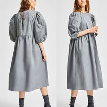 """SELECTED(セレクトテッド) ワンピース """"SELECTED"""" COTTON LINEN PUFF SLEEVED DRESS GRAY"""
