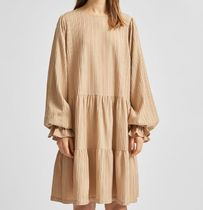 """SELECTED(セレクトテッド) ワンピース """"SELECTED"""" STRUCTURED TIERED DRESS BEIGE"""