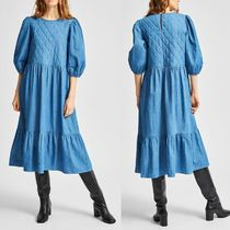 """SELECTED(セレクトテッド) ワンピース """"SELECTED"""" QUILTED DENIM DRESS BLUE"""