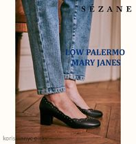 *Sezane*LOW PALERMO MARY JANES Black Nails Smooth Heritage
