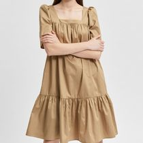"""SELECTED(セレクトテッド) ワンピース """"SELECTED"""" SQUARE NECK COTTON DRESS BEIGEBROWN"""