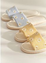 【DECO VIEW】Daisy embroidered check linen Slippers