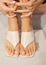 """""""& Other Stories""""☆Thong Strap Leather Mule Sandals(beige)"""