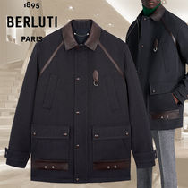 【BERLUTI】Jacket With Patina Leather Details ジャケット