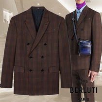 【BERLUTI】Prince Of Wales Double Breasted Lined Jacket