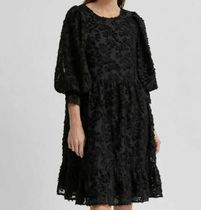 """SELECTED(セレクトテッド) ワンピース """"SELECTED"""" 3D FLORAL PRINT STRUCTURED DRESS BLACK"""