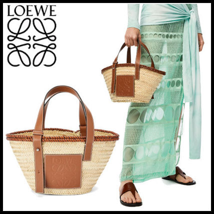 【LOEWE】Small Inlay Basket bag in palm leaf and calfskin
