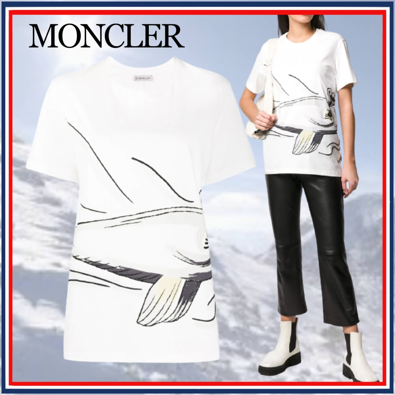 MONCLER モンクレール 魚プリント Tシャツ ロゴ 刺繍 半袖 白 綿 (MONCLER/Tシャツ・カットソー) 68240093