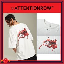 ATTENTIONROW(アテンションロー) Tシャツ・カットソー [ATTENTIONROW] Ink splatter-print over-fit T-shirts/追跡付