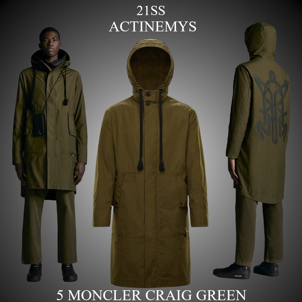 21SS★新作★5 MONCLER CRAIG GREEN★ACTINEMYS ロングパーカー (MONCLER/アウターその他)  09H1C0000754A3W833