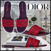 DIOR DWAY MULES Embroidery Navy Cotton サンダル