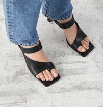 """& Other Stories""""新作☆Square Toe Heeled Leather Sandals(黒)"""