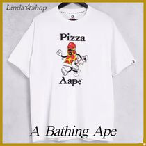 A BATHING APE(アベイシングエイプ) Tシャツ・カットソー *A Bathing Ape* pizza boxy プリント白 ロゴ Tシャツ(送料込)