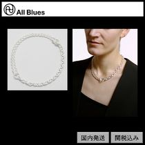 【All Blues】Double necklace Polished silver 42cm