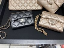 Chanel☆チェーンハンドル付きCard Coin Case☆Gold&Black