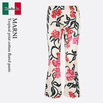 Marni Tropical print cotton flared pants
