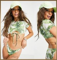 ASOS/Missguided☆green leaf Tシャツビキニset♪【送料込】
