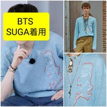 BTS SUGA着用★UNISEX LINEN EMBROIDERY FACE CREWNECK SWEATER