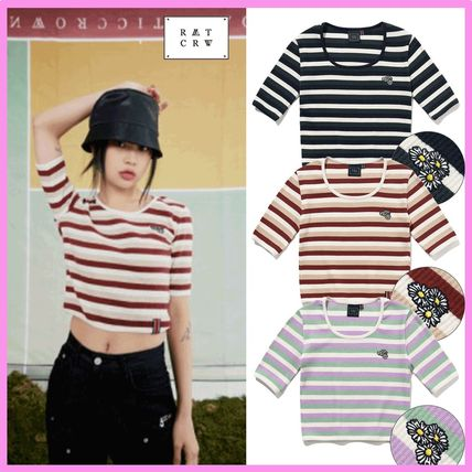 21SS☆ロマクラ☆WOMANS STRIPE RIBBED TEE/3色/ROMANTIC CROWN