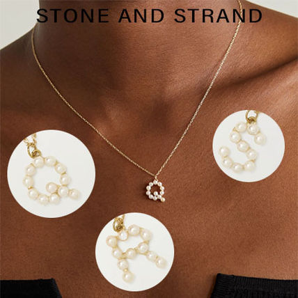 【STONE AND STRAND】10K金×淡水パール★イニシャルネックレス