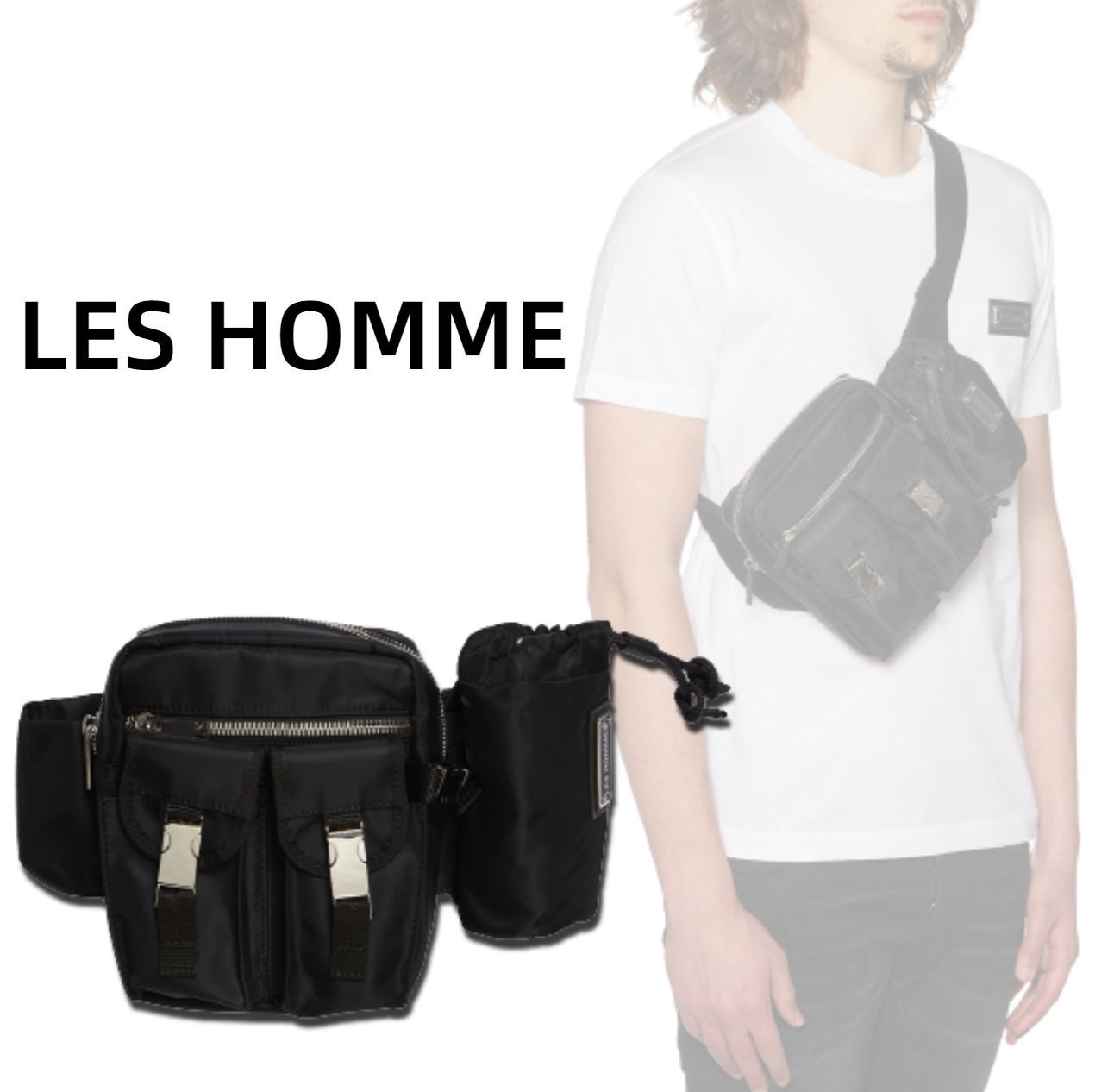 《LES HOMME》メタルロゴ クロスボディバッグ☆国内発送&関税込 (LES HOMMES/バッグ・カバンその他) 68485370
