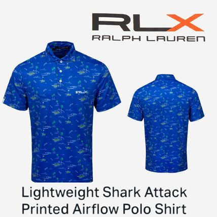 注目【RLX】Lightweight Shark Attack Printed Airflow Polo