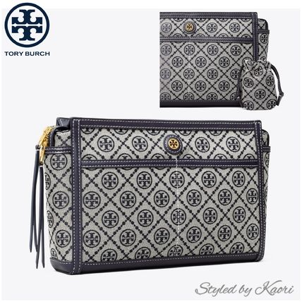 【TORY BURCH】T MONOGRAM JACQUARD TRAVEL POUCH●国内発送OK●