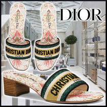 DIOR 21Cr DWAY HEEL MULES White Embroidery cotton サンダル