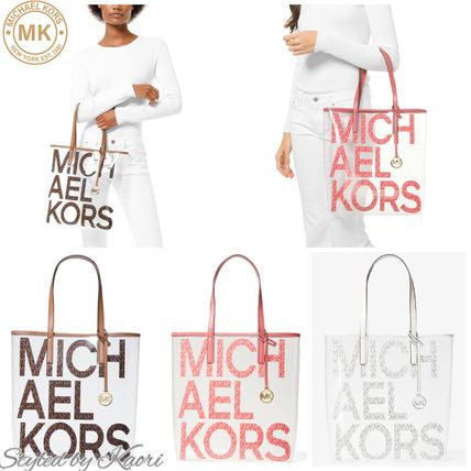 MICHAEL KORS The Michael Large Graphic Logo Clear トート