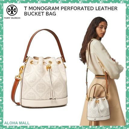 【Tory Burch】T MONOGRAM PERFORATED LEATHER BUCKET BAG♪