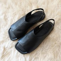"""COS(コス) サンダル・ミュール """"COS"""" LEATHER OPEN-TOE SANDALS BLACK"""